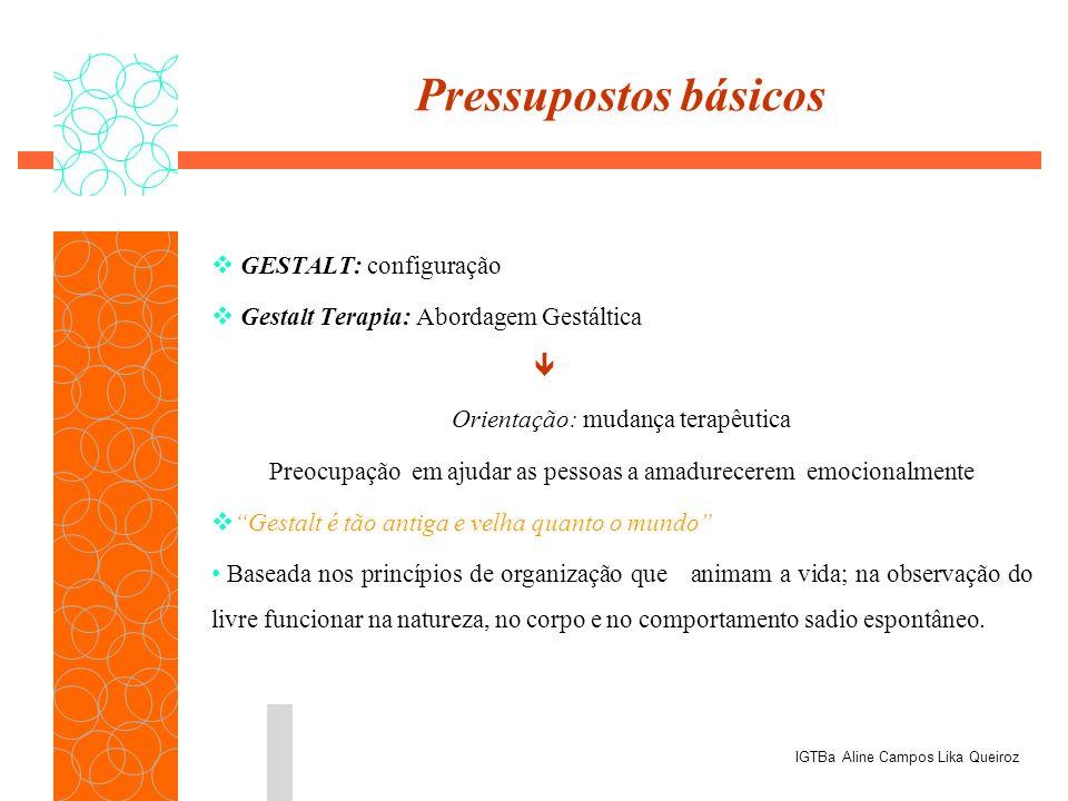Pressupostos básicos GESTALT: configuração Gestalt Terapia: Abordagem Gestáltica Orientação: mudança terapêutica Preocupação em ajudar as pessoas a am
