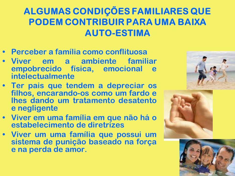 ALGUMAS CONDIÇÕES FAMILIARES QUE PODEM CONTRIBUIR PARA UMA BAIXA AUTO-ESTIMA Perceber a família como conflituosa Viver em a ambiente familiar empobrec
