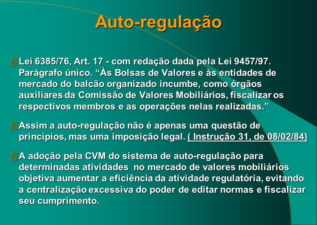Auto-regulação 4Lei 6385/76, Art.17 - com redação dada pela Lei 9457/97.
