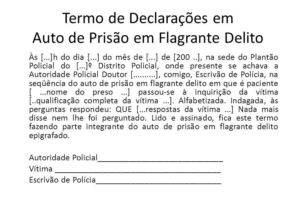 Termo de Declarações em Auto de Prisão em Flagrante Delito Às [...]h do dia [...] do mês de [...] de [200..], na sede do Plantão Policial do [...]º Di
