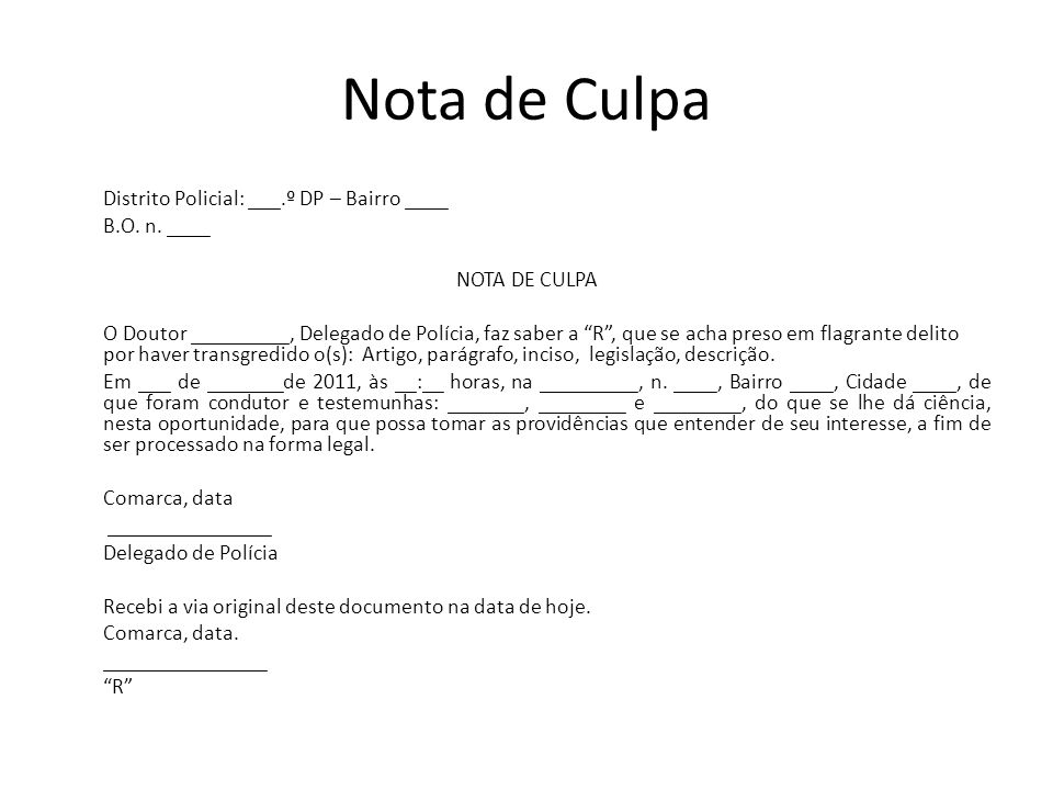 Nota de Culpa Distrito Policial: ___.º DP – Bairro ____ B.O. n. ____ NOTA DE CULPA O Doutor _________, Delegado de Polícia, faz saber a R, que se acha