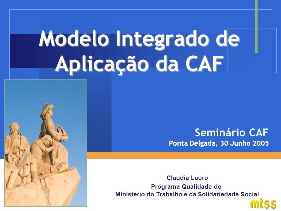 Claudia Lauro Programa Qualidade do Ministério do Trabalho e da Solidariedade Social Modelo Integrado de Aplicação da CAF Seminário CAF Ponta Delgada, 30 Junho 2005