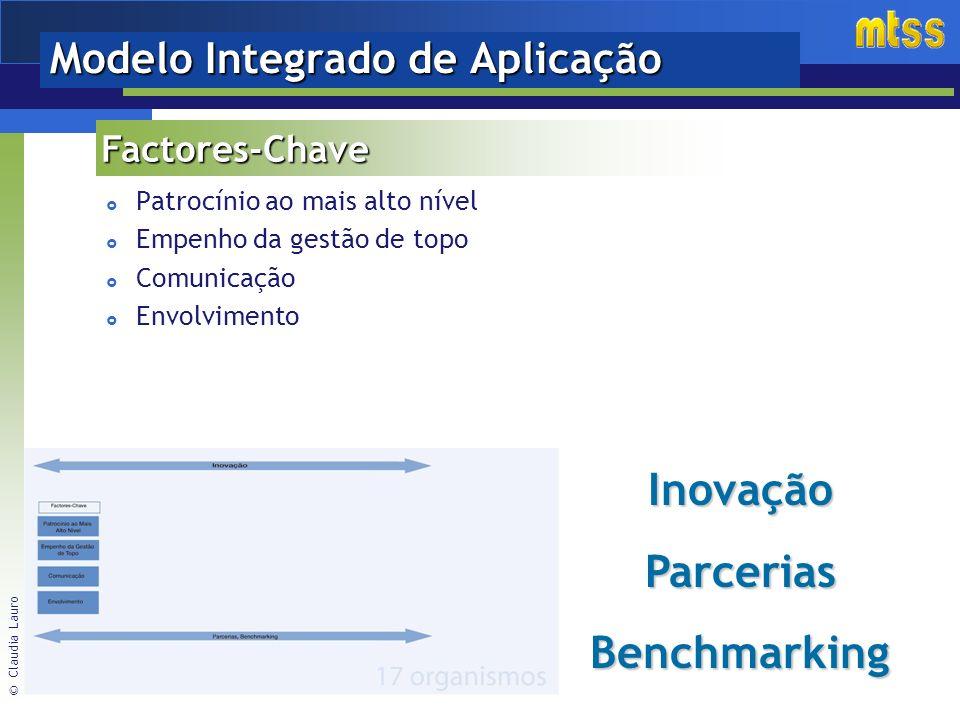 © Claudia Lauro Patrocínio ao mais alto nível Empenho da gestão de topo Comunicação Envolvimento Factores-Chave Modelo Integrado de Aplicação InovaçãoParceriasBenchmarking
