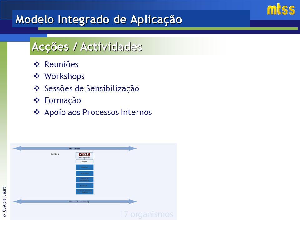 © Claudia Lauro Modelo Integrado de Aplicação Reuniões Workshops Sessões de Sensibilização Formação Apoio aos Processos Internos Acções / Actividades