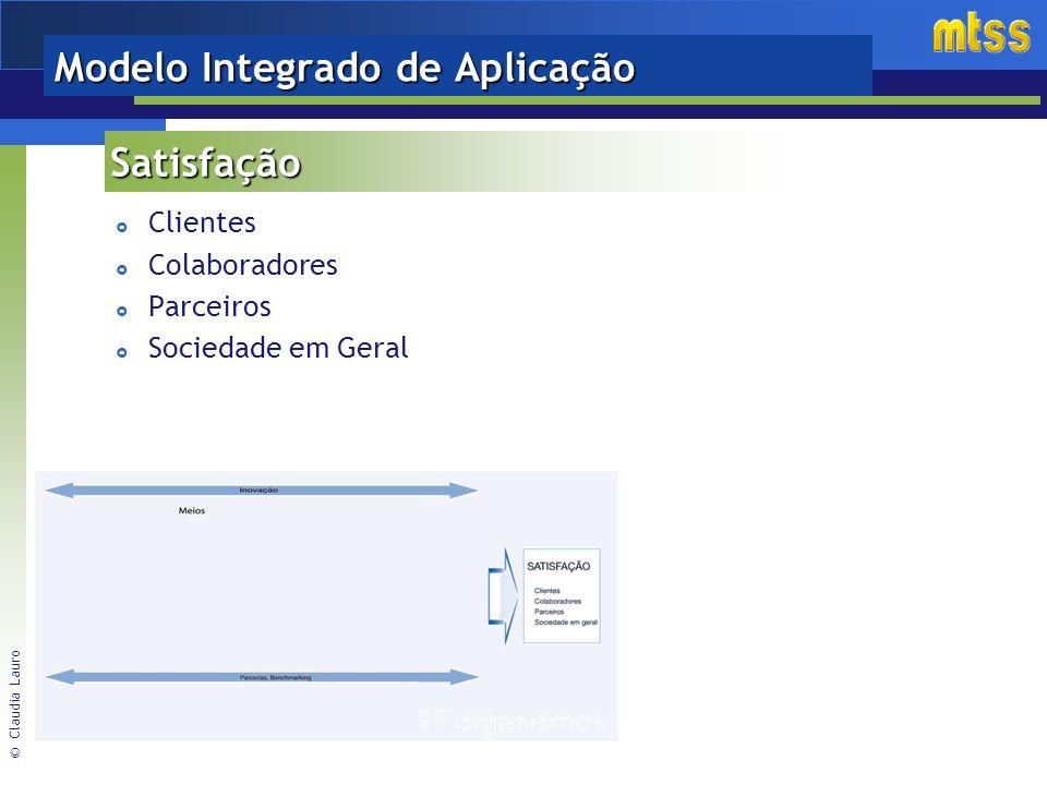© Claudia Lauro Modelo Integrado de Aplicação Clientes Colaboradores Parceiros Sociedade em Geral Satisfação