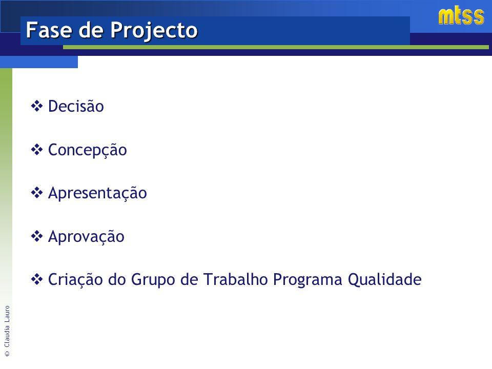 © Claudia Lauro Fase de Projecto Decisão Concepção Apresentação Aprovação Criação do Grupo de Trabalho Programa Qualidade