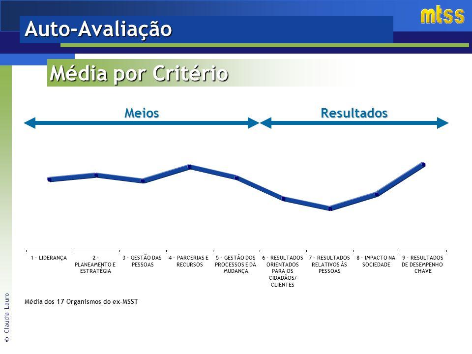 © Claudia Lauro Auto-AvaliaçãoMeiosResultados 1 - LIDERANÇA2 - PLANEAMENTO E ESTRATÉGIA 3 - GESTÃO DAS PESSOAS 4 - PARCERIAS E RECURSOS 5 - GESTÃO DOS PROCESSOS E DA MUDANÇA 6 - RESULTADOS ORIENTADOS PARA OS CIDADÃOS/ CLIENTES 7 - RESULTADOS RELATIVOS ÀS PESSOAS 8 - IMPACTO NA SOCIEDADE 9 - RESULTADOS DE DESEMPENHO CHAVE Média dos 17 Organismos do ex-MSST Média por Critério