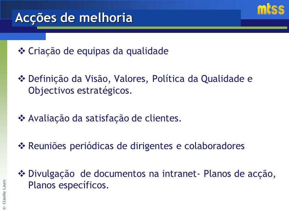 © Claudia Lauro Acções de melhoria Criação de equipas da qualidade Definição da Visão, Valores, Política da Qualidade e Objectivos estratégicos.