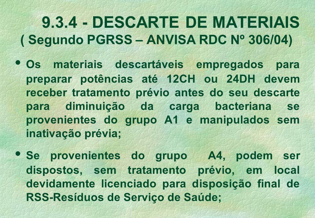 9.3.4 - DESCARTE DE MATERIAIS ( Segundo PGRSS – ANVISA RDC Nº 306/04) Os materiais descartáveis empregados para preparar potências até 12CH ou 24DH de