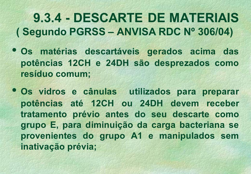 9.3.4 - DESCARTE DE MATERIAIS ( Segundo PGRSS – ANVISA RDC Nº 306/04) Os matérias descartáveis gerados acima das potências 12CH e 24DH são desprezados