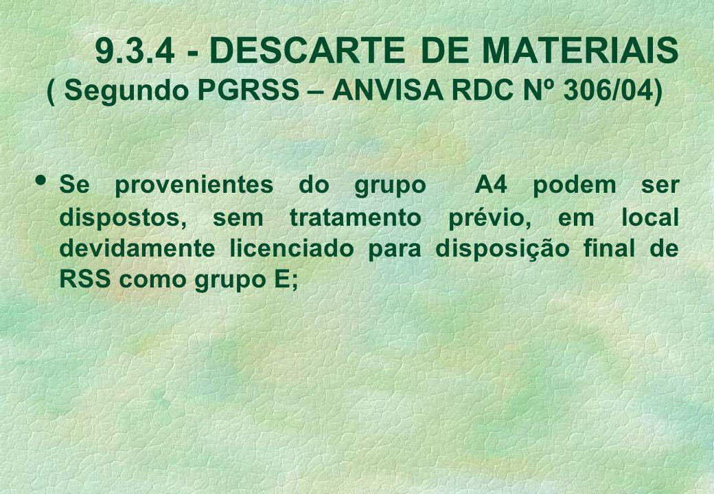 9.3.4 - DESCARTE DE MATERIAIS ( Segundo PGRSS – ANVISA RDC Nº 306/04) Se provenientes do grupo A4 podem ser dispostos, sem tratamento prévio, em local devidamente licenciado para disposição final de RSS como grupo E;