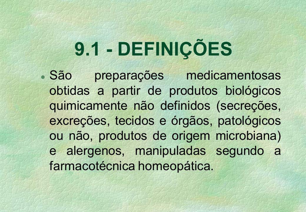 São preparações medicamentosas obtidas a partir de produtos biológicos quimicamente não definidos (secreções, excreções, tecidos e órgãos, patológicos ou não, produtos de origem microbiana) e alergenos, manipuladas segundo a farmacotécnica homeopática.