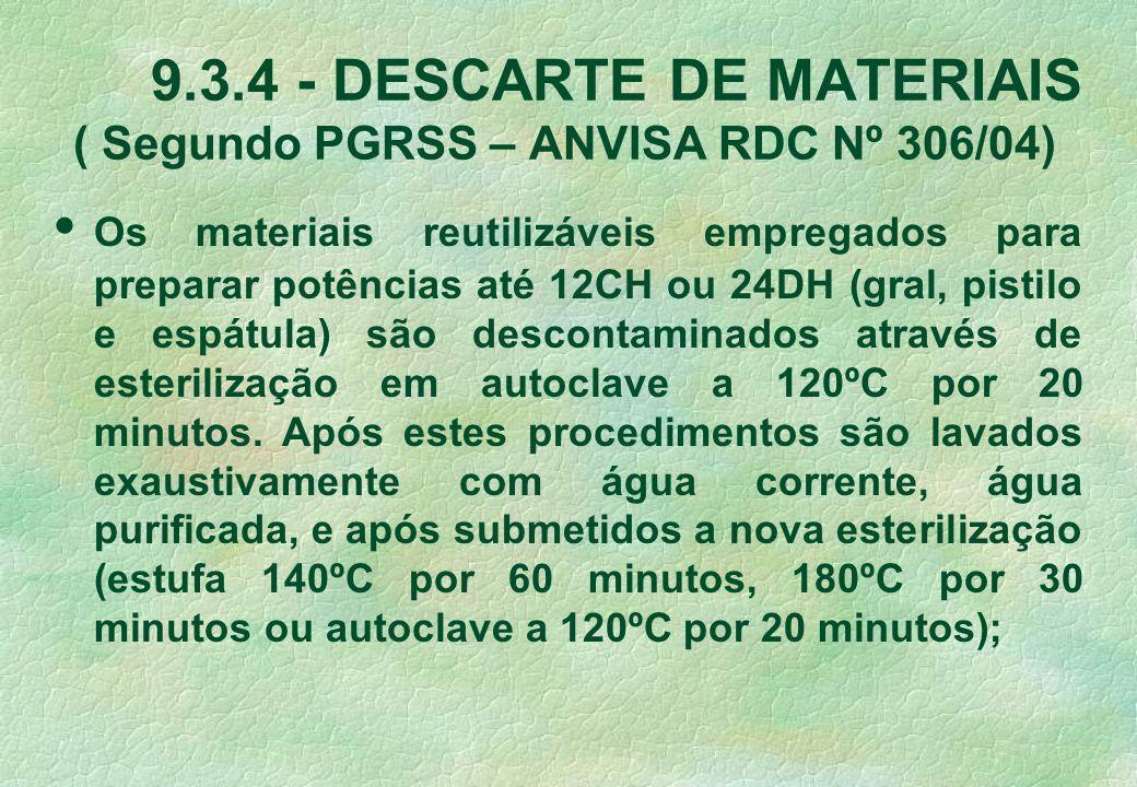 9.3.4 - DESCARTE DE MATERIAIS ( Segundo PGRSS – ANVISA RDC Nº 306/04) Os materiais reutilizáveis empregados para preparar potências até 12CH ou 24DH (gral, pistilo e espátula) são descontaminados através de esterilização em autoclave a 120ºC por 20 minutos.