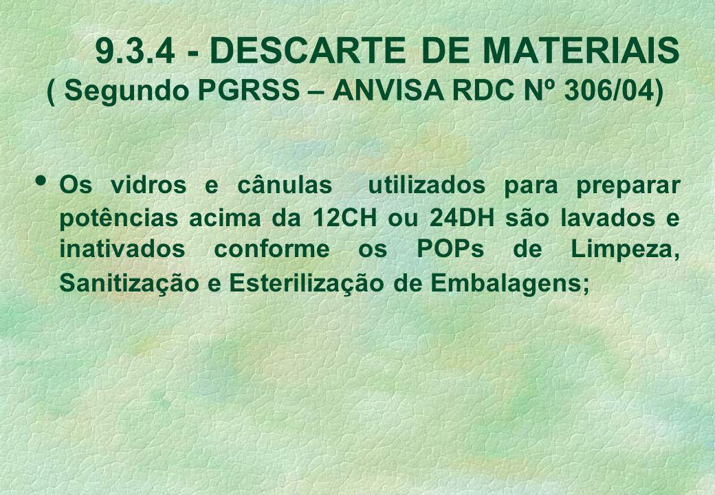 9.3.4 - DESCARTE DE MATERIAIS ( Segundo PGRSS – ANVISA RDC Nº 306/04) Os vidros e cânulas utilizados para preparar potências acima da 12CH ou 24DH são lavados e inativados conforme os POPs de Limpeza, Sanitização e Esterilização de Embalagens;