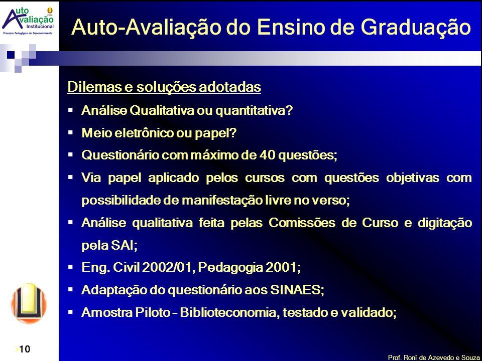 Prof. Roní de Azevedo e Souza 10 Auto-Avaliação do Ensino de Graduação Dilemas e soluções adotadas Análise Qualitativa ou quantitativa? Meio eletrônic