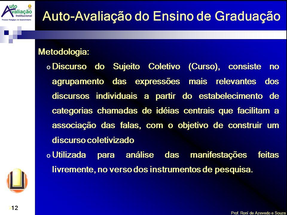 Prof. Roní de Azevedo e Souza 12 Metodologia: o Discurso do Sujeito Coletivo (Curso), consiste no agrupamento das expressões mais relevantes dos discu