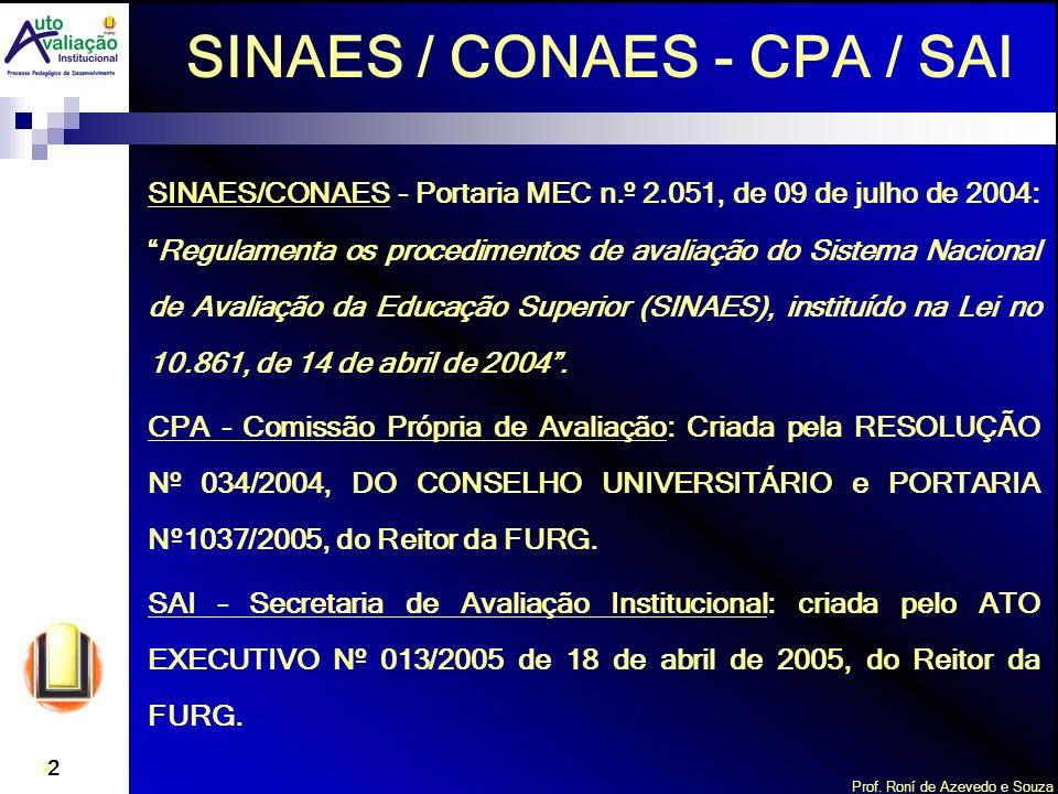 Prof. Roní de Azevedo e Souza 2 SINAES/CONAES - Portaria MEC n.º 2.051, de 09 de julho de 2004:Regulamenta os procedimentos de avaliação do Sistema Na