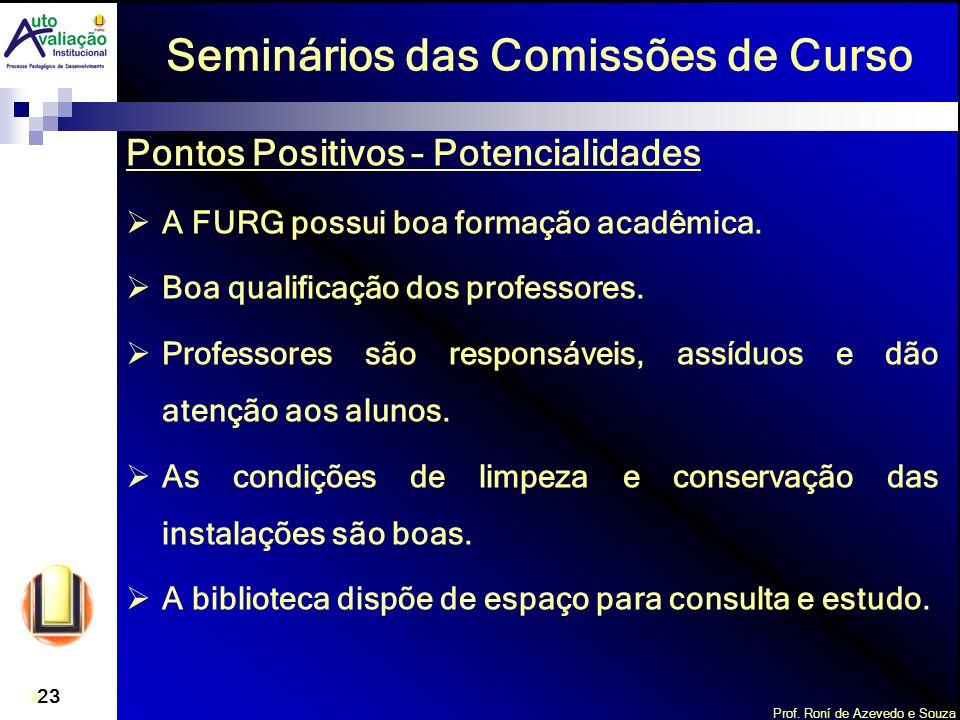 Prof. Roní de Azevedo e Souza 23 Seminários das Comissões de Curso Pontos Positivos – Potencialidades A FURG possui boa formação acadêmica. Boa qualif