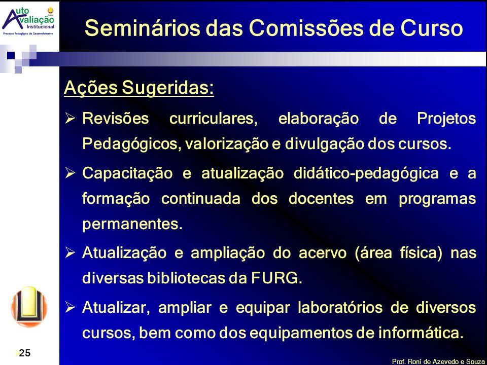 Prof. Roní de Azevedo e Souza 25 Seminários das Comissões de Curso Ações Sugeridas: Revisões curriculares, elaboração de Projetos Pedagógicos, valoriz