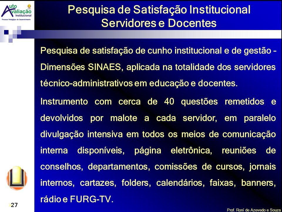 Prof. Roní de Azevedo e Souza 27 Pesquisa de satisfação de cunho institucional e de gestão – Dimensões SINAES, aplicada na totalidade dos servidores t