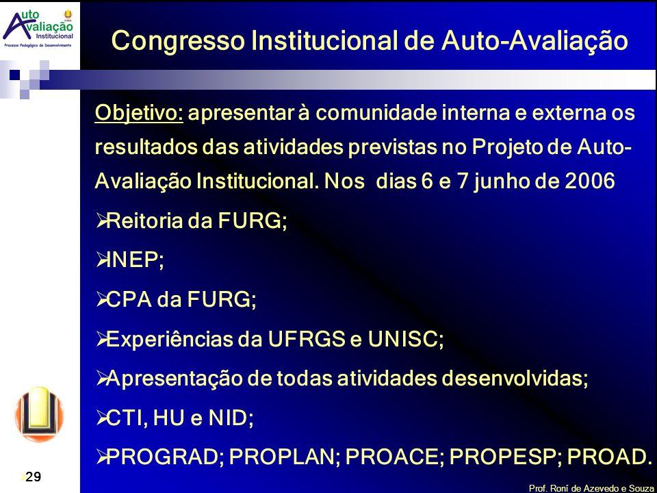 Prof. Roní de Azevedo e Souza 29 Congresso Institucional de Auto-Avaliação Objetivo: apresentar à comunidade interna e externa os resultados das ativi