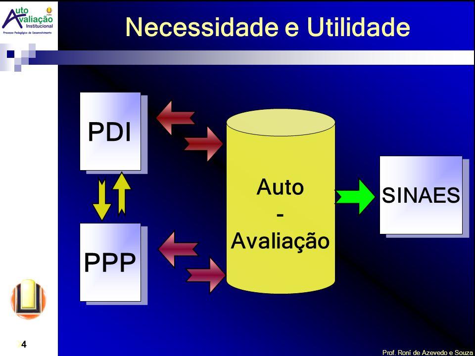 Prof. Roní de Azevedo e Souza 4 Necessidade e Utilidade PPP SINAES PDI Auto - Avaliação