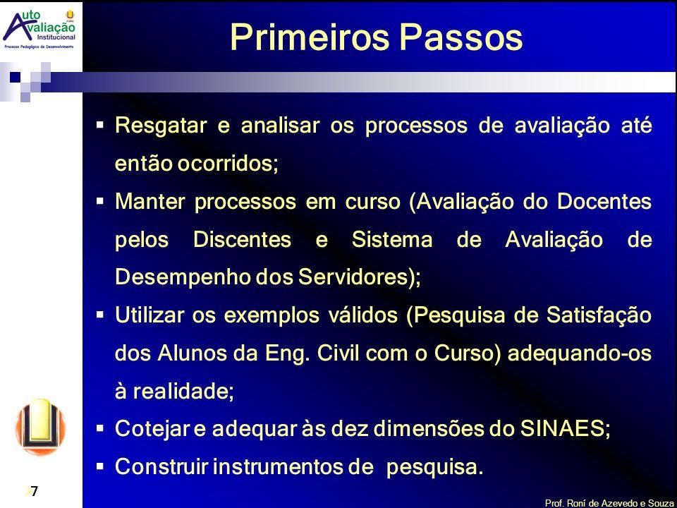 Prof. Roní de Azevedo e Souza 7 Primeiros Passos Resgatar e analisar os processos de avaliação até então ocorridos; Manter processos em curso (Avaliaç
