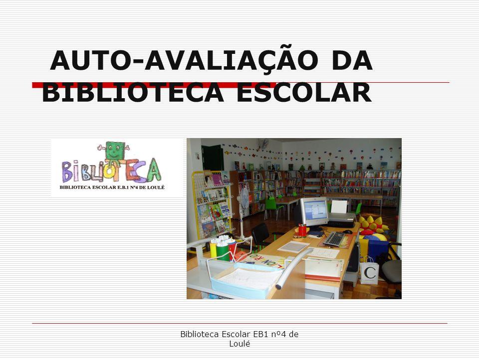 Biblioteca Escolar EB1 nº4 de Loulé AUTO-AVALIAÇÃO DA BIBLIOTECA ESCOLAR Sentido da auto-avaliação Objectivos implicados Domínios da avaliação Etapas do processo Envolvimento dos Utilizadores Impacto da Biblioteca Escolar Divulgação dos resultados