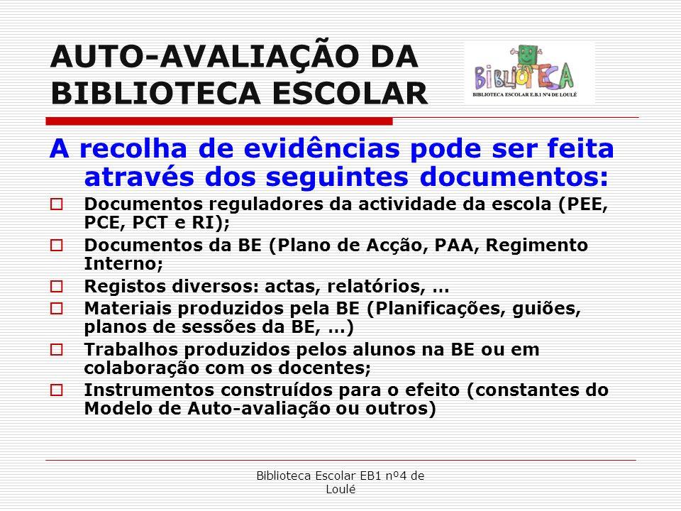 Biblioteca Escolar EB1 nº4 de Loulé AUTO-AVALIAÇÃO DA BIBLIOTECA ESCOLAR A recolha de evidências pode ser feita através dos seguintes documentos: Docu