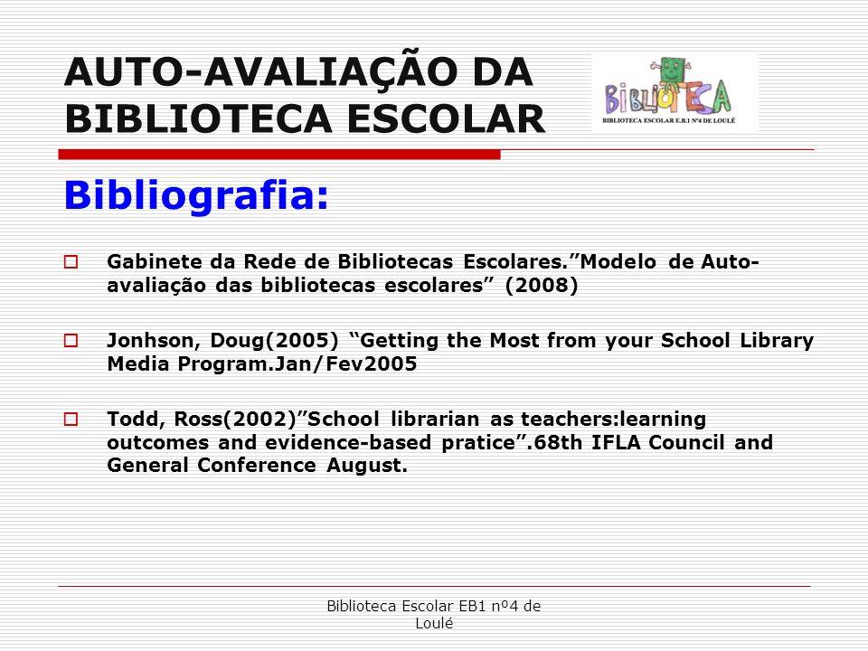 Biblioteca Escolar EB1 nº4 de Loulé AUTO-AVALIAÇÃO DA BIBLIOTECA ESCOLAR Bibliografia: Gabinete da Rede de Bibliotecas Escolares.Modelo de Auto- avali