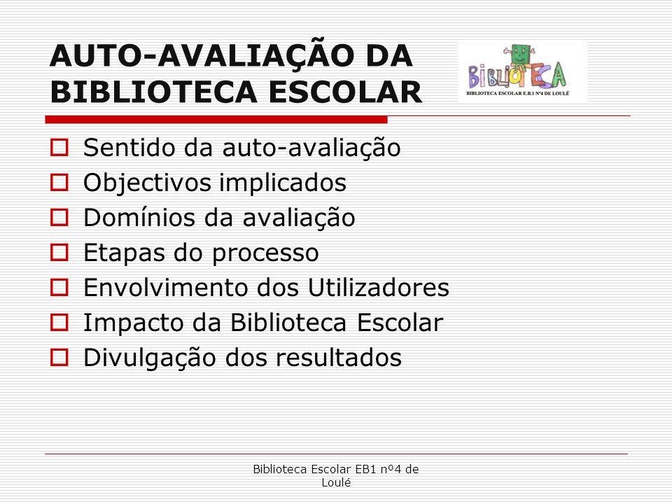Biblioteca Escolar EB1 nº4 de Loulé AUTO-AVALIAÇÃO DA BIBLIOTECA ESCOLAR Sentido da auto-avaliação Objectivos implicados Domínios da avaliação Etapas