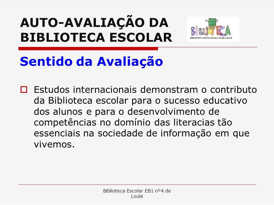 Biblioteca Escolar EB1 nº4 de Loulé AUTO-AVALIAÇÃO DA BIBLIOTECA ESCOLAR Sentido da Avaliação Estudos internacionais demonstram o contributo da Biblio