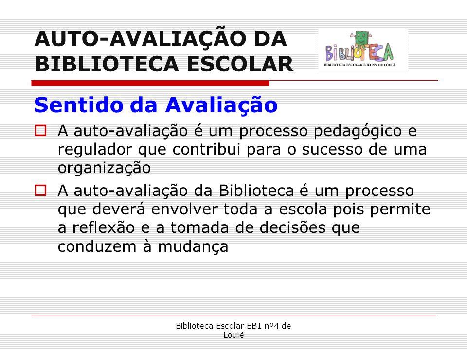Biblioteca Escolar EB1 nº4 de Loulé AUTO-AVALIAÇÃO DA BIBLIOTECA ESCOLAR Sentido da Avaliação A auto-avaliação é um processo pedagógico e regulador qu