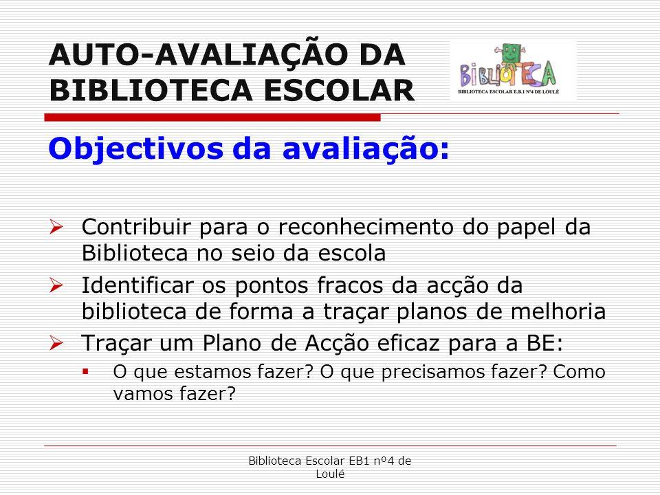 Biblioteca Escolar EB1 nº4 de Loulé AUTO-AVALIAÇÃO DA BIBLIOTECA ESCOLAR Objectivos da avaliação: Contribuir para o reconhecimento do papel da Bibliot