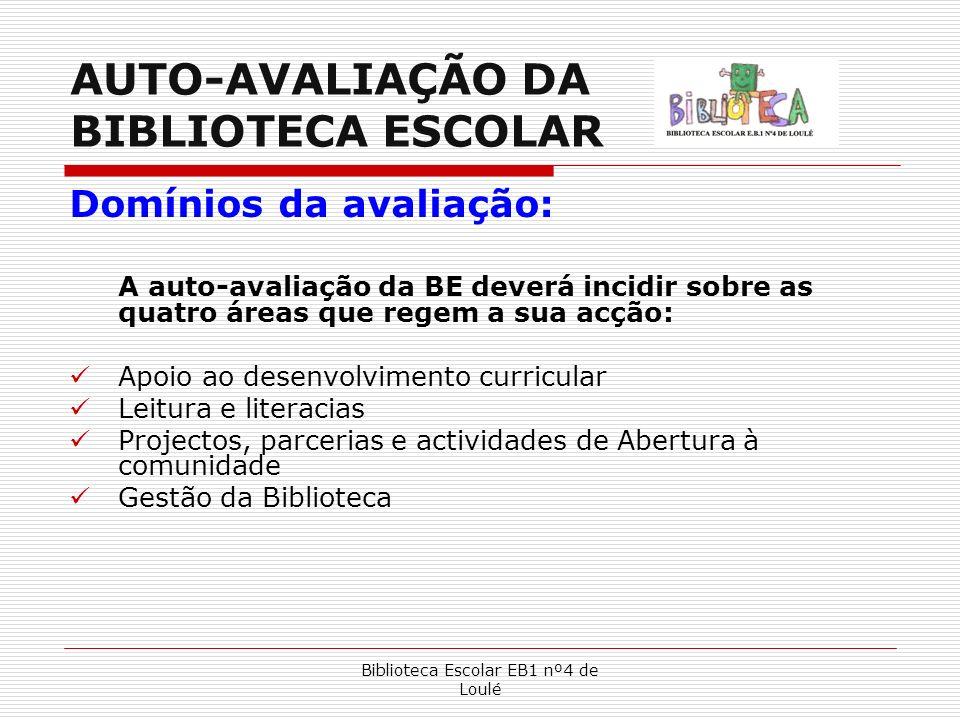 Biblioteca Escolar EB1 nº4 de Loulé Domínios da avaliação: Apoio ao desenvolvimento curricular Leitura e literacias Projectos e Parcerias Gestão Da Biblioteca