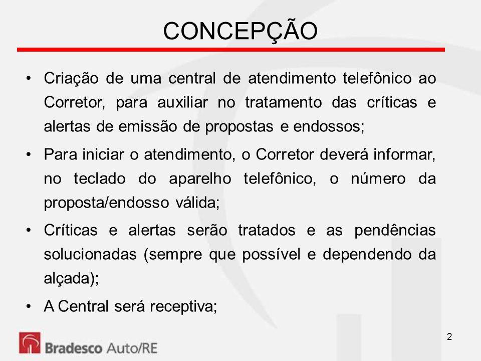 2 CONCEPÇÃO Criação de uma central de atendimento telefônico ao Corretor, para auxiliar no tratamento das críticas e alertas de emissão de propostas e