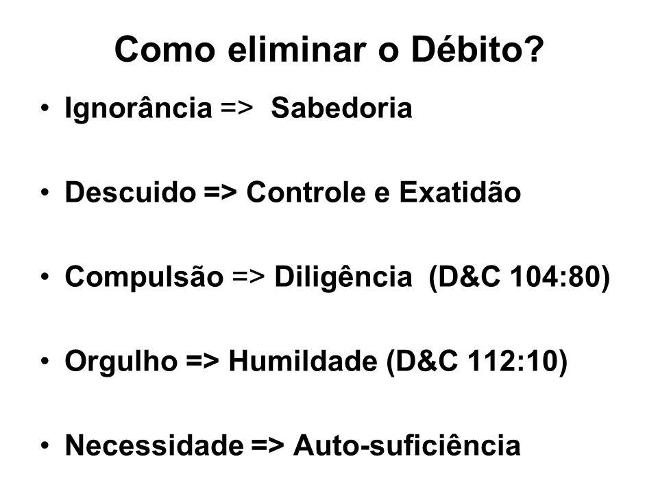 Como eliminar o Débito? Ignorância => Sabedoria Descuido => Controle e Exatidão Compulsão => Diligência (D&C 104:80) Orgulho => Humildade (D&C 112:10)