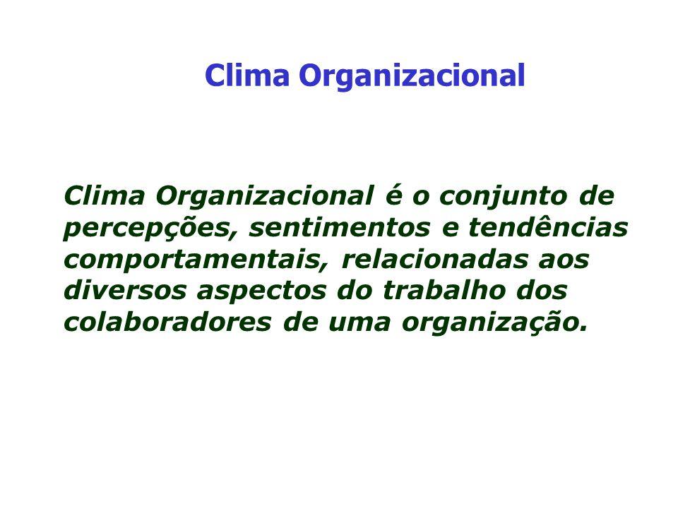 Clima Organizacional é o conjunto de percepções, sentimentos e tendências comportamentais, relacionadas aos diversos aspectos do trabalho dos colabora