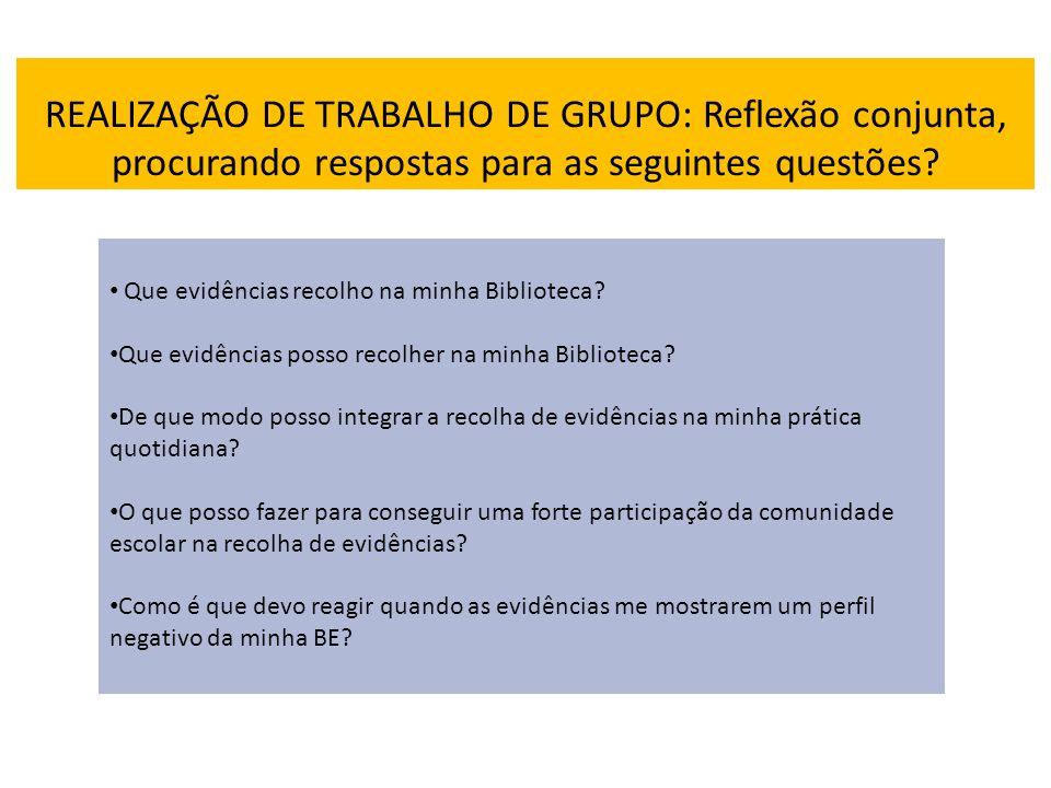 REALIZAÇÃO DE TRABALHO DE GRUPO: Reflexão conjunta, procurando respostas para as seguintes questões.