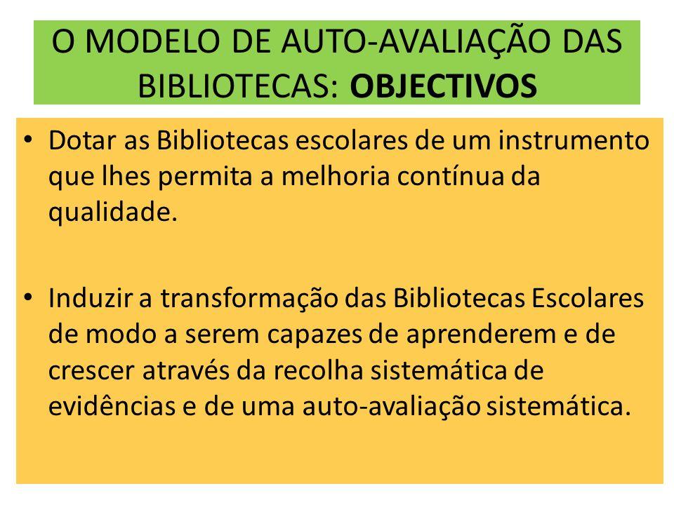 O MODELO DE AUTO-AVALIAÇÃO DAS BIBLIOTECAS: OBJECTIVOS Dotar as Bibliotecas escolares de um instrumento que lhes permita a melhoria contínua da qualidade.