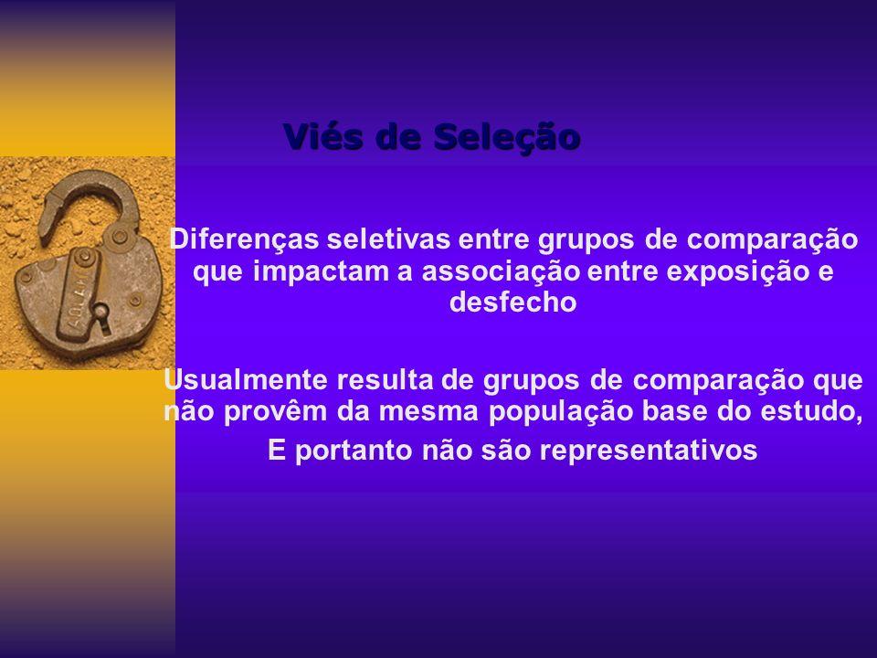 Viés de Seleção Diferenças seletivas entre grupos de comparação que impactam a associação entre exposição e desfecho Usualmente resulta de grupos de c