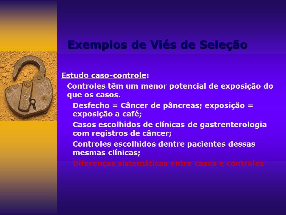 Exemplos de Viés de Seleção Estudo caso-controle: Controles têm um menor potencial de exposição do que os casos. Desfecho = Câncer de pâncreas; exposi