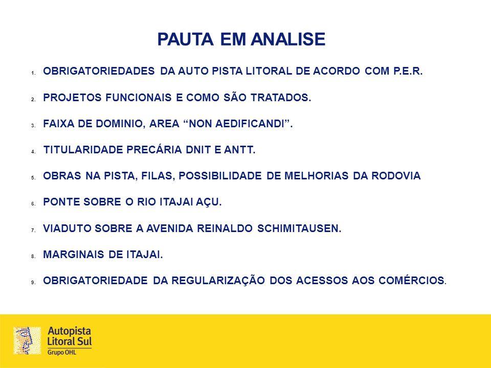 PAUTA EM ANALISE 1. OBRIGATORIEDADES DA AUTO PISTA LITORAL DE ACORDO COM P.E.R. 2. PROJETOS FUNCIONAIS E COMO SÃO TRATADOS. 3. FAIXA DE DOMINIO, AREA
