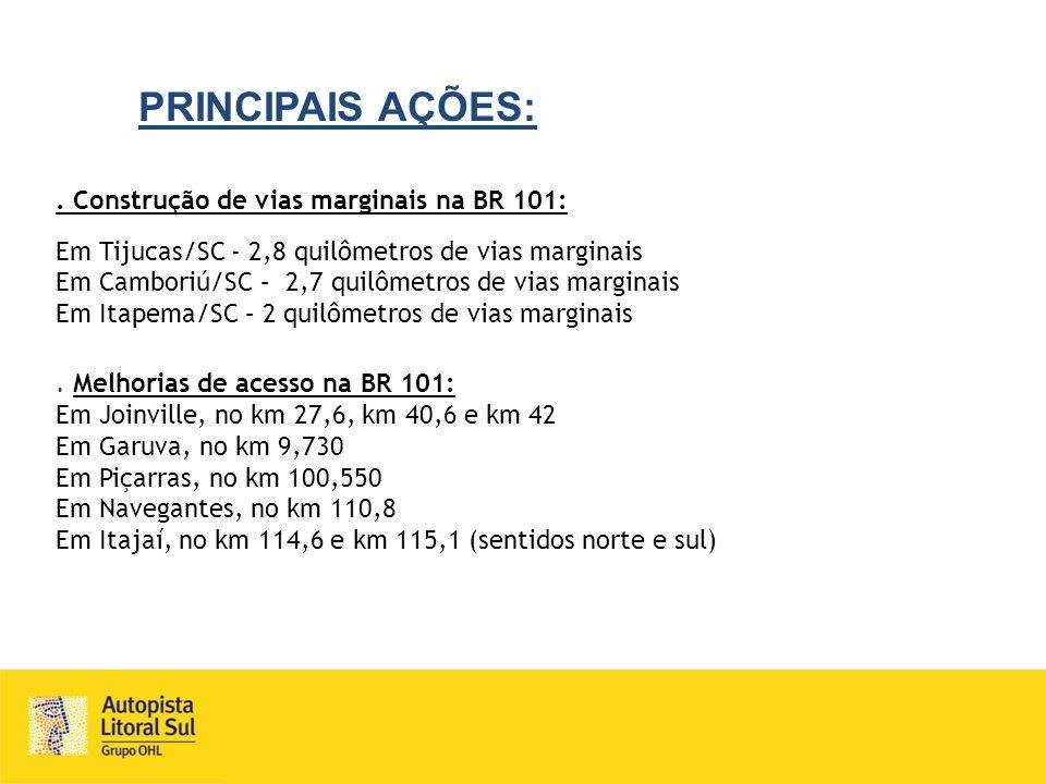 PRINCIPAIS AÇÕES:. Construção de vias marginais na BR 101: Em Tijucas/SC - 2,8 quilômetros de vias marginais Em Camboriú/SC – 2,7 quilômetros de vias