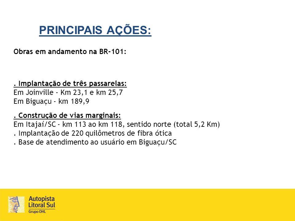 PRINCIPAIS AÇÕES: Obras em andamento na BR-101:. Implantação de três passarelas: Em Joinville - Km 23,1 e km 25,7 Em Biguaçu - km 189,9. Construção de
