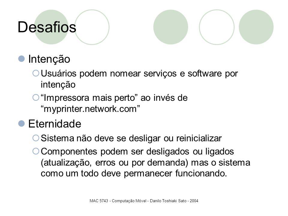 MAC 5743 - Computação Móvel - Danilo Toshiaki Sato - 2004 Desafios Intenção Usuários podem nomear serviços e software por intenção Impressora mais per
