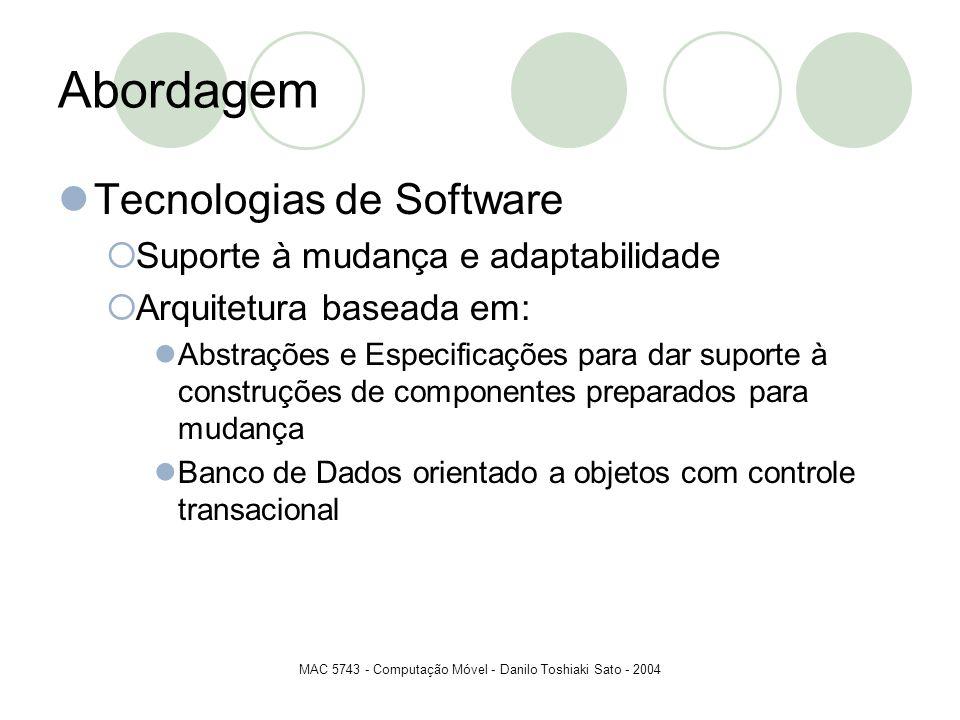 MAC 5743 - Computação Móvel - Danilo Toshiaki Sato - 2004 Abordagem Tecnologias de Software Suporte à mudança e adaptabilidade Arquitetura baseada em: