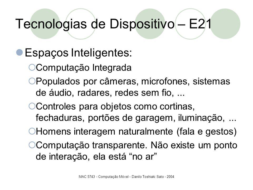 MAC 5743 - Computação Móvel - Danilo Toshiaki Sato - 2004 Tecnologias de Dispositivo – E21 Espaços Inteligentes: Computação Integrada Populados por câ