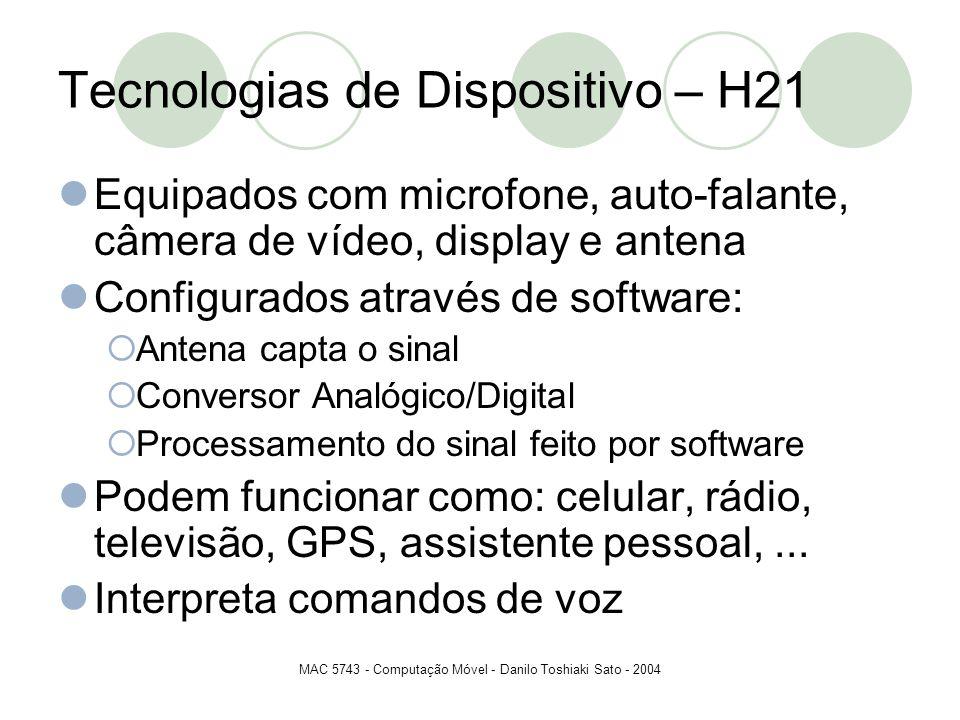 MAC 5743 - Computação Móvel - Danilo Toshiaki Sato - 2004 Tecnologias de Dispositivo – H21 Equipados com microfone, auto-falante, câmera de vídeo, dis