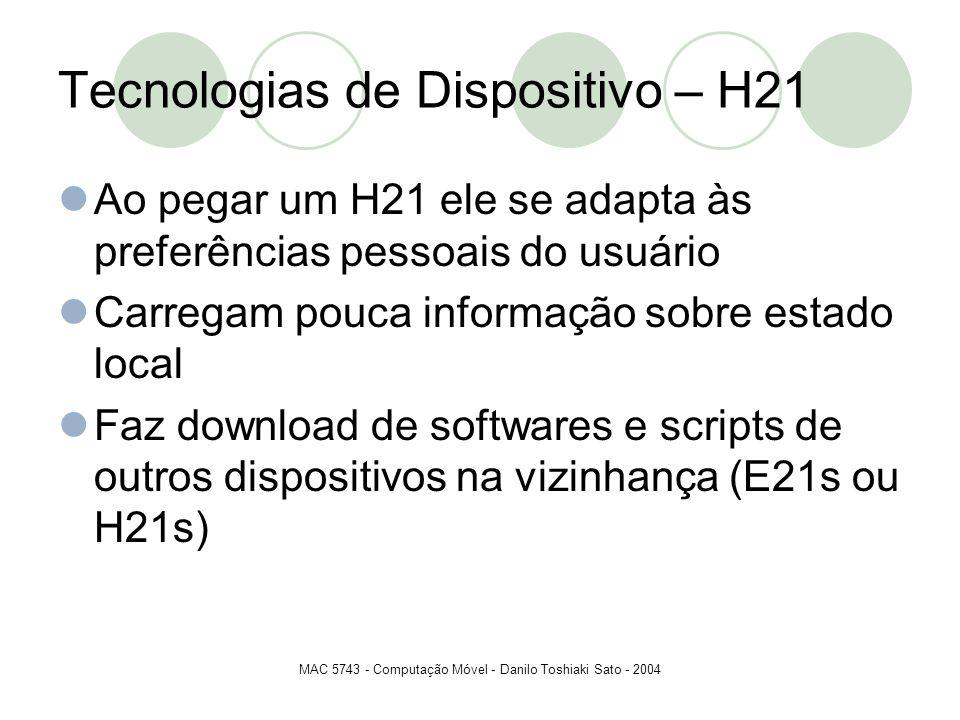 MAC 5743 - Computação Móvel - Danilo Toshiaki Sato - 2004 Tecnologias de Dispositivo – H21 Ao pegar um H21 ele se adapta às preferências pessoais do u